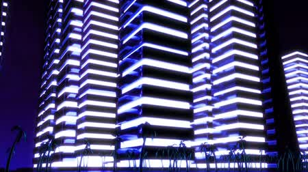 ночная жизнь : Night scene of night Metropolis. Loopable. Blue