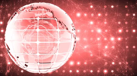 mapa : Abstract background with the rotation of the glass of the globe. Loopable. Red.