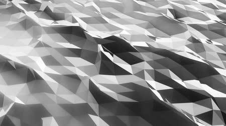 facets : Abstract low poly green sea. Loopable. Black and white