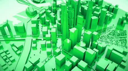 korporacja : Abstract animation of a camera moving around the green city buildings Looping.