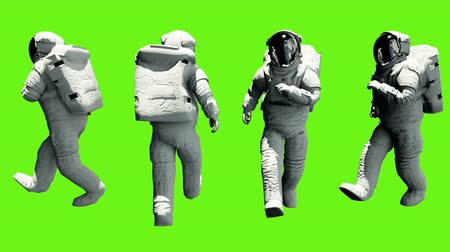 lunar surface : Fun astronaut walking. Loopable animation on green screen. 4k. Stock Footage