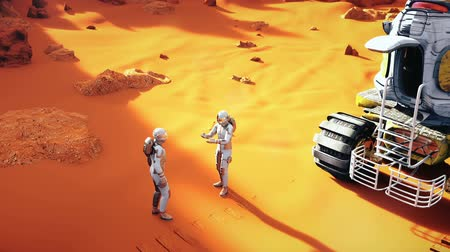 roket : Astronauts on a Mars arguing after the planet exploration. A futuristic concept of a colonization of Mars.