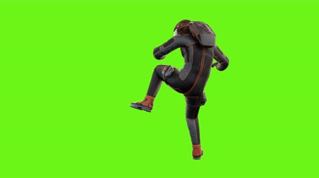 roket : Sci fi man fights. Loopable animation on green screen from two angles. 4k. Stok Video