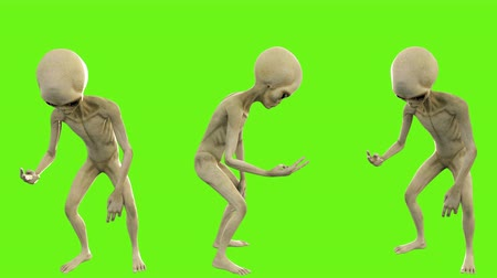 olhos verdes : Alien counts up to three. Loopable animation on green screen. 4k.