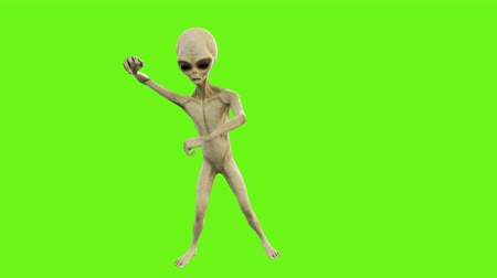 olhos verdes : Alien dancing in gangnam style. Loopable animation on green screen. 4k.