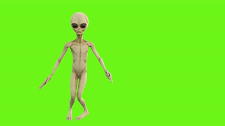 olhos verdes : Alien dancing. Loopable animation on green screen. 4k. Stock Footage