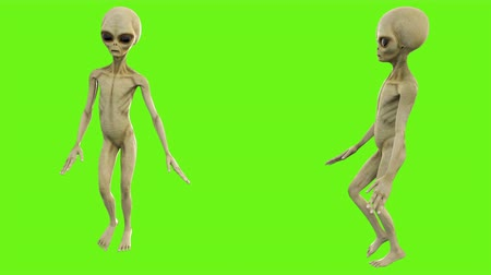 olhos verdes : Alien walks. Loopable animation on green screen. 4k.