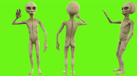 olhos verdes : Alien salute. Loopable animation on green screen. 4k.