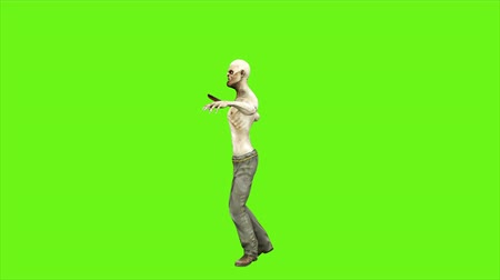 lidércnyomás : Zombie dance - seperated on green screen. Loopable. 4k. Stock mozgókép