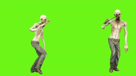 lijk : Zombie dance - seperated on green screen. Loopable. 4k. Stockvideo