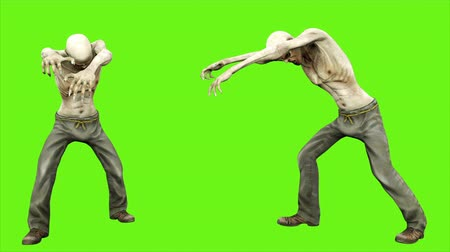 lidércnyomás : Walk a zombie - seperated on green screen. Loopable. 4k. Stock mozgókép