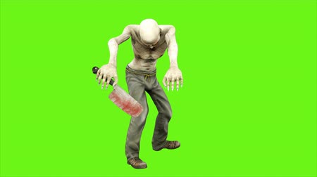 lijk : Walk a zombie - seperated on green screen. Loopable. 4k. Stockvideo