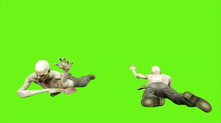 lijk : Zombie crawls - seperated on green screen. Loopable. 4k. Stockvideo