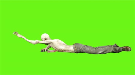 diabeł : Zombie crawls - seperated on green screen. Loopable. 4k. Wideo