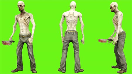 lijk : Zombie standing - seperated on green screen. Loopable. 4k.