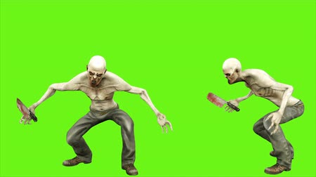 diabeł : Zombie attacks - seperated on green screen. Loopable. 4k.