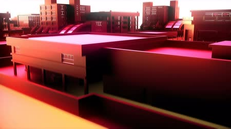 estrutura construída : Camera moves through abstract red city. Loopable animation.