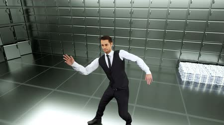 bankier : Young businessman dancing after a successful transaction on a green screen background. Looped animation. Wideo