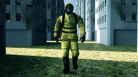 hazmat : Man in protective hazmat walking in a deserted city. Loopable Background.