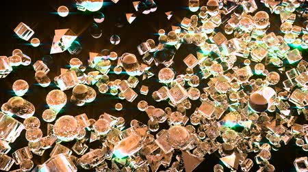 broken glass : Ice abstract geometric figures flying in slow motion Stock Footage
