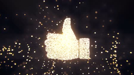 tabuleta digital : Abstract flying flickering particles turn into a hand sign. Animation of seamless loop. Stock Footage