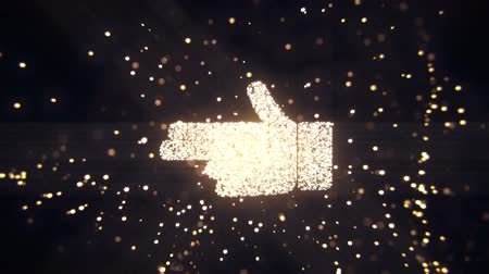 polegar : Abstract flying flickering particles turn into a hand sign. Animation of seamless loop. Vídeos