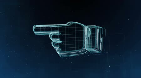 egyetért : Abstract hand sign with flying flickering particles background