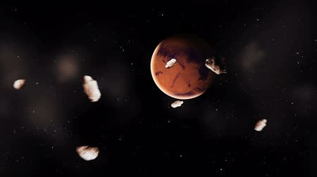 Марс : Realistic planet Mars with meteorites from deep space Стоковые видеозаписи