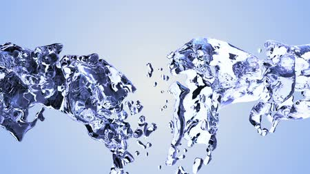 spilling : Blue water splash with bubbles of air with white background