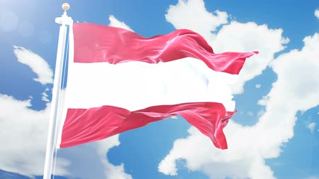 austrian : Realistic flag of Austria waving against time-lapse clouds background. Seamless loop in 4K resolution with detailed fabric texture.