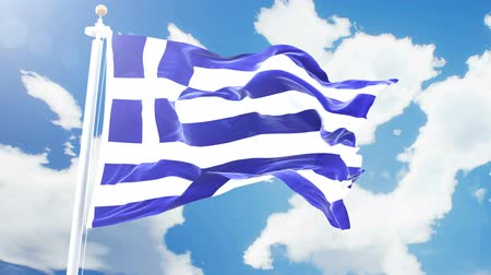 greece flag : Realistic flag of Greece waving against time-lapse clouds background. Seamless loop in 4K resolution with detailed fabric texture.
