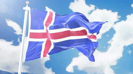 render : Realistic flag of Iceland waving against time-lapse clouds background. Seamless loop in 4K resolution with detailed fabric texture.
