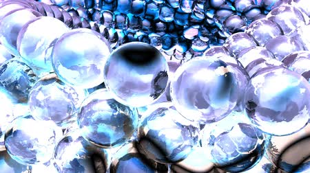 refraksiyon : Ice abstract spheres rotating in slow motion. Loopable Background. Stok Video