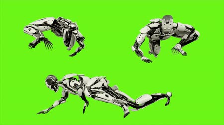 shaking hand : Robot android crawling. Realistic looped motion on green screen background. 4K.
