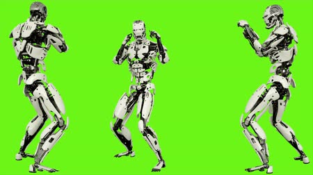 sallama : Robot android is shows your fighting skills. Realistic looped motion on green screen background. 4K. Stok Video