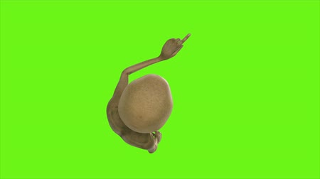 render : Alien presses the button. Loopable animation on green screen. 4k.