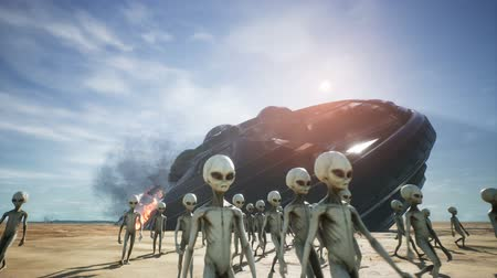 evacuated : Aliens are evacuated from a fallen and burning spaceship Stock Footage