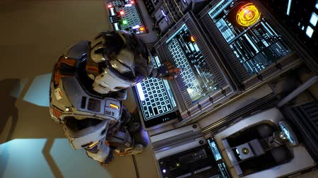 base station : Astronaut of the future presses the keys on sci-fi screen. Realistic motion background. Animation of seamless loop.