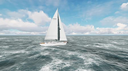 marítimo : Yacht sailing on opened ocean. Yachting Sailing video.