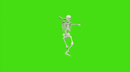 render : Skeleton dancing. Seamless loop animation on green screen.