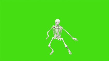 zombi : Skeleton dancing. Animation on green screen.