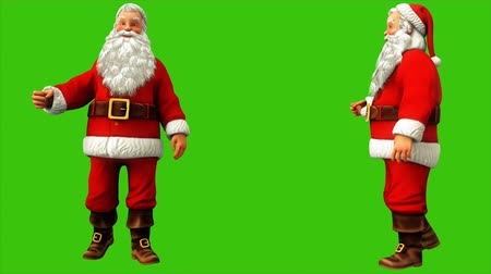 świety mikołaj : Santa claus is walking on green screen during Christmas 4k. Seamless loop animation. Wideo