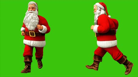 świety mikołaj : Santa claus is running around on green screen during Christmas 4k. Seamless loop animation.