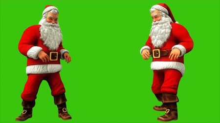 jumped : Santa Claus was sitting and jumped from the push on the green screen during Christmas 4k. Seamless loop animation.