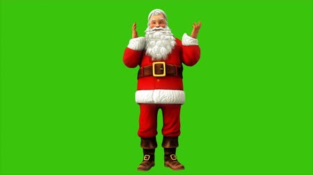 świety mikołaj : Cheerful Santa Claus is spinning on the green screen during Christmas 4k. Seamless loop animation.