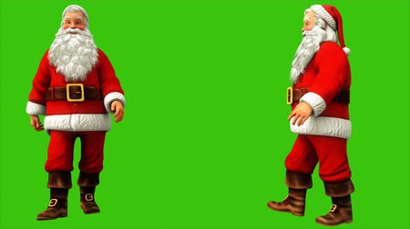 magic dance : Santa claus is walking on green screen during Christmas 4k. Seamless loop animation. Stock Footage