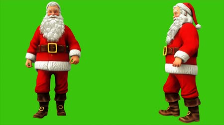 świety mikołaj : Santa Claus is fast walking on green screen during 4K Christmas. Seamless loop animation. Wideo