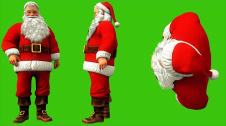 świety mikołaj : Santa Claus presses the button on the green screen during Christmas 4k. Seamless loop animation.