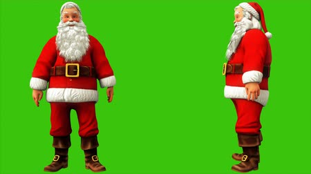 świety mikołaj : Santa Claus makes a hand sign on the green screen during Christmas 4k. Seamless loop animation. Wideo