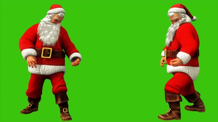 świety mikołaj : Santa Claus plays guitar on green screen during Christmas 4k. Seamless loop animation.